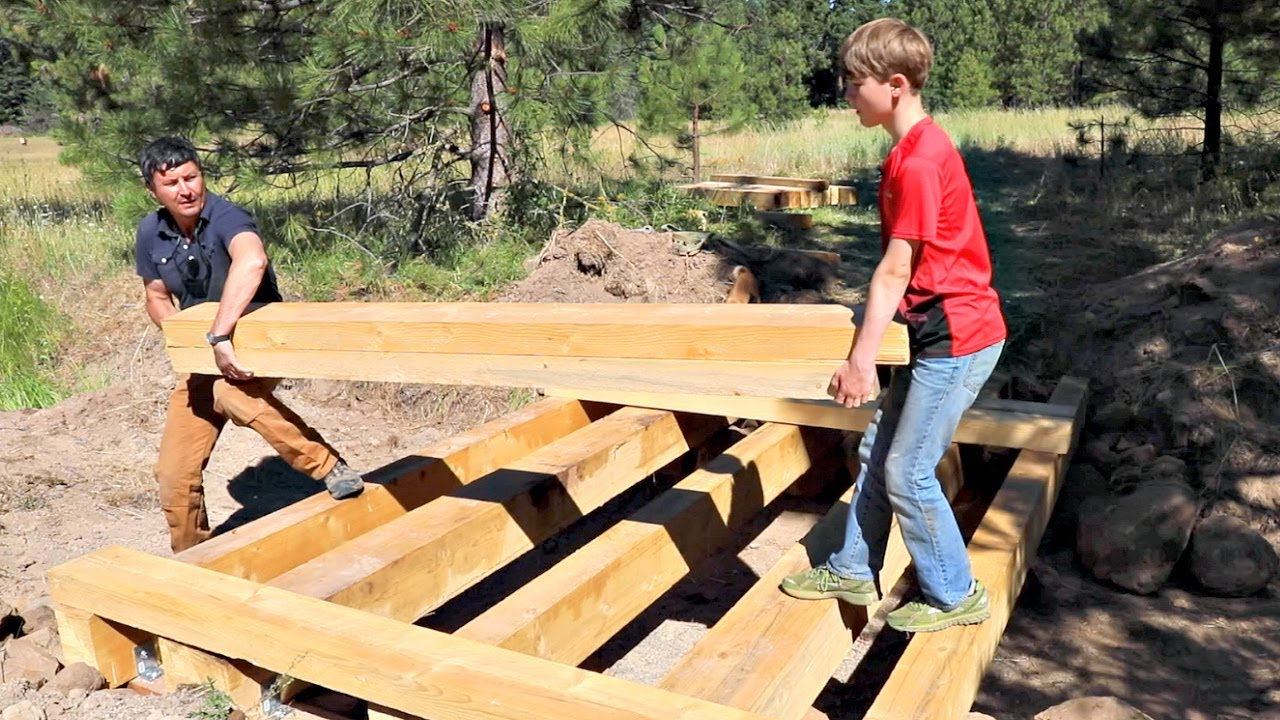 how to build a bridge over a creek for a tractor 5 youtube. Black Bedroom Furniture Sets. Home Design Ideas