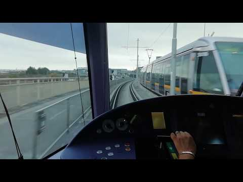 LUAS Dublin Tram. Full ride on LUAS Red Line from Saggart to The Point.
