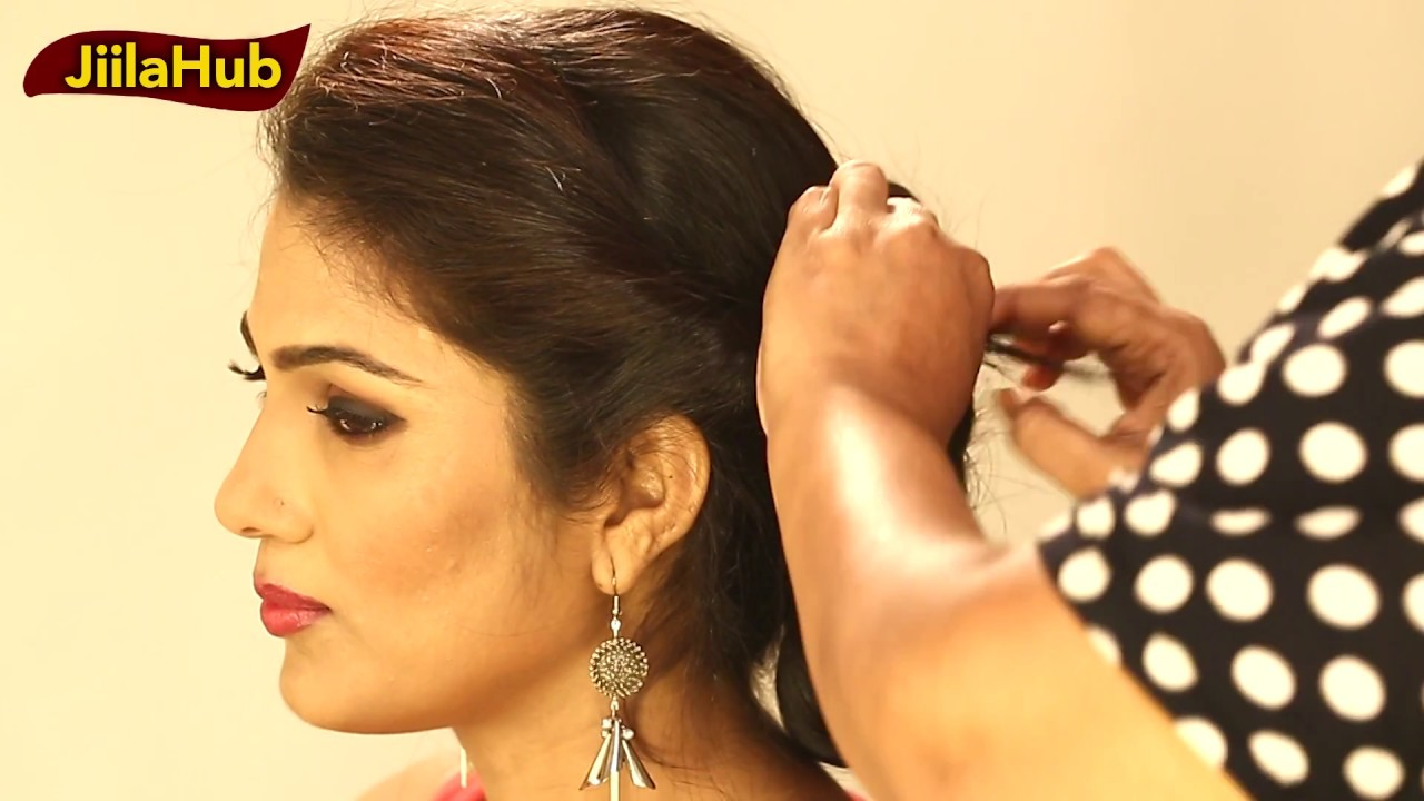 simple side puff without bun : easy bridal hairstyle(hair do