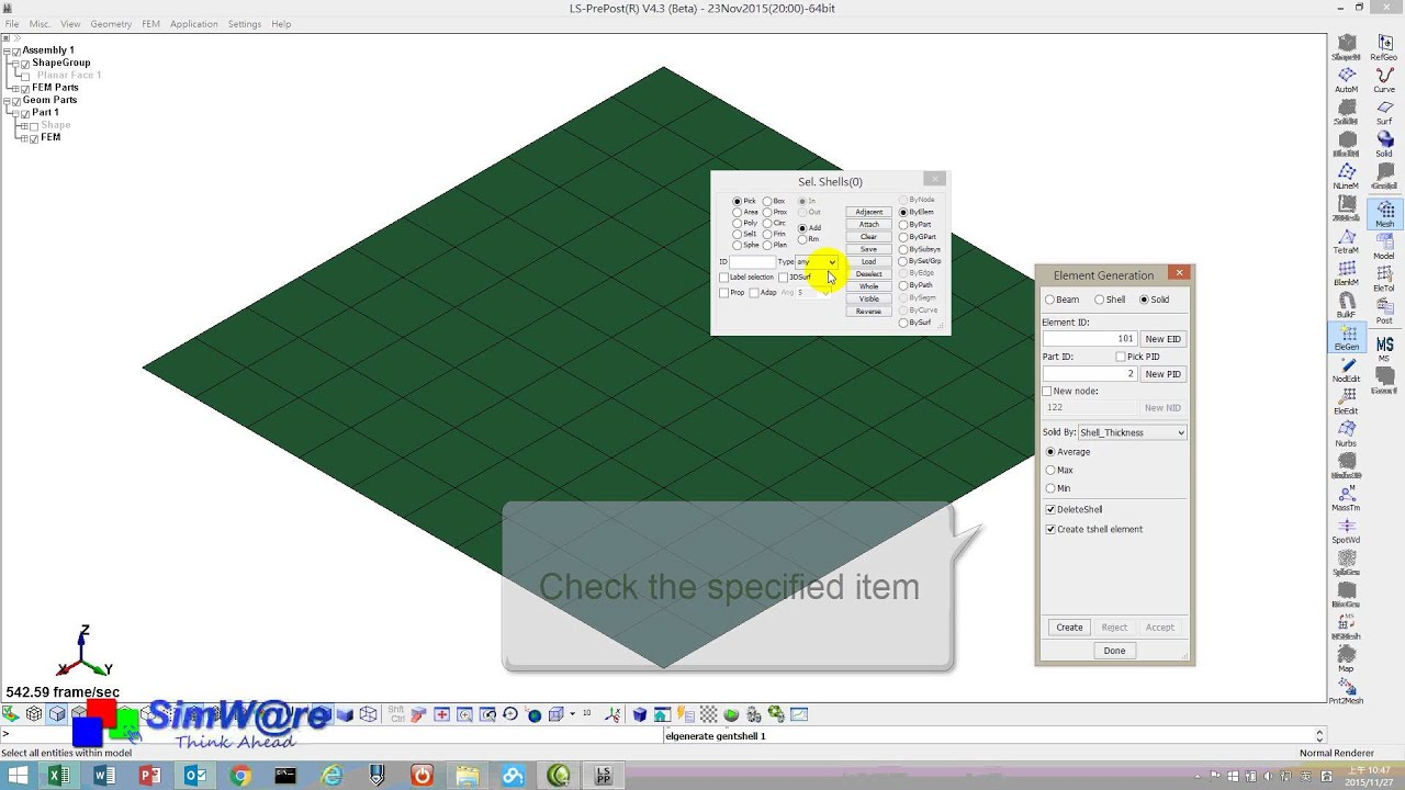 How to generate the Thick Shell Element in LS-PrePost-2