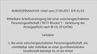"""Mittelbare Anteilsvereinigung bei einer zwischengeschalteten Personengesellschaft (""""RETT-Blocker"""")"""