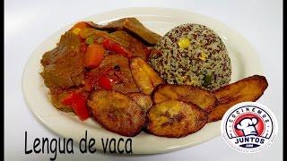 Lengua de res en salsa   con maduro frito y quinoa