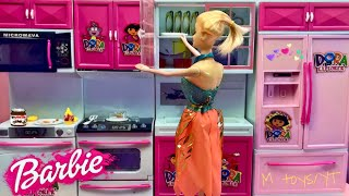 Barbie Girl Kitchen Set Up Real Cooking Refrigerator Toy Set Youtube