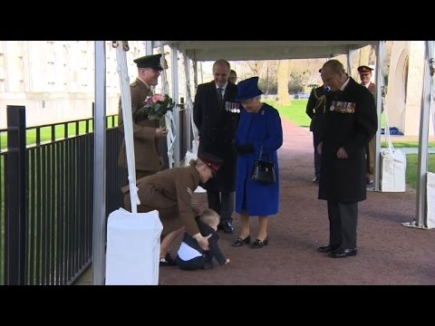 Restless toddler throws tantrum as he meets the Queen