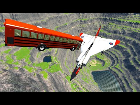 Thumbnail: Beamng drive - Throwing Cars At Airplanes The New Avro Arrow