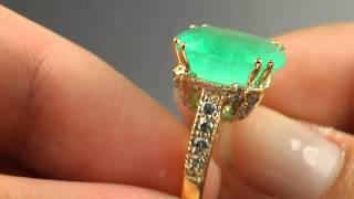 Elegantly Distinctive! Colombian Emerald & Diamond Engagement Ring 14k