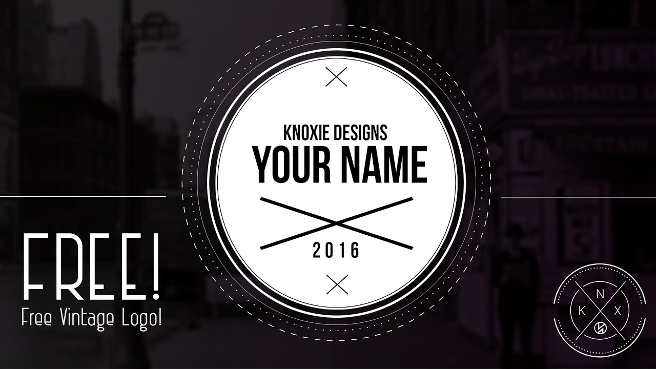 FREE! Vintage Logo Template (#Photoshop) Knoxie Designs - YouTube