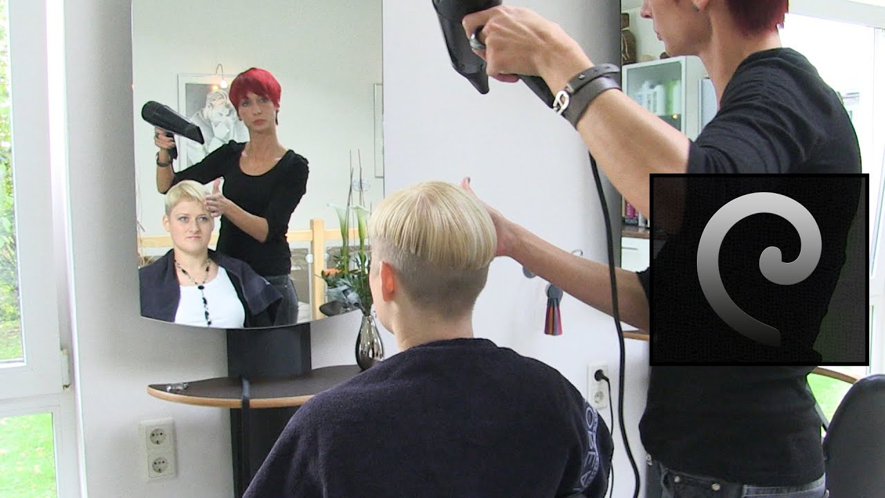 Extreme Bowl Cut Women With Shaved Nape Blonde Pixie Undercut