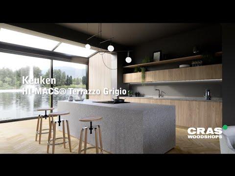 Virtuele realisatie van een keuken in 'Terrazzo' solid surface