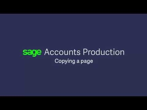 Sage Accounts Production U.K. — Copying a Page