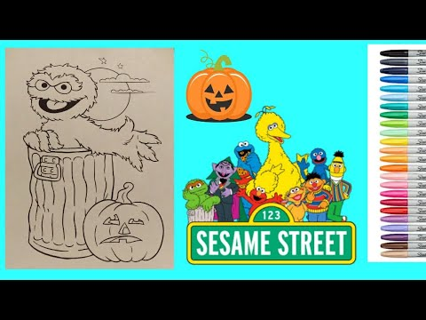 Oscar The Grouch Halloween Coloring For Kids Sesame Street Kids Coloring Book To Music Markers