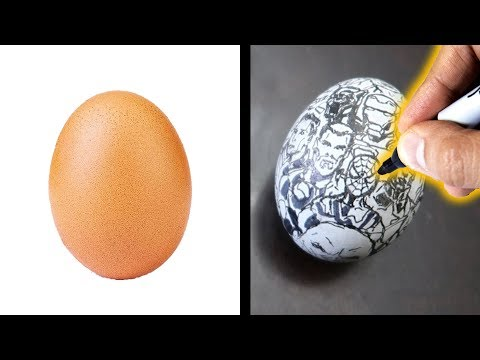 Drawing THE AVENGERS - ON AN EGG????
