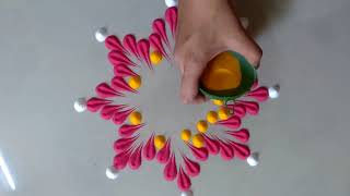Rangoli Design using Funnel || Beautiful and innovative Rangoli Design || रंगोली
