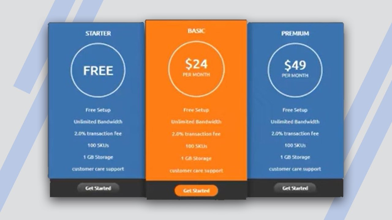 Simple pricing table with html5 css3 youtube for Table design html5 css3