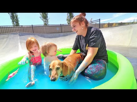 SLiME SWiMMiNG POOL!! with my Pet Dog and Baby Niko and Mom and Barbie Dream Dolls!