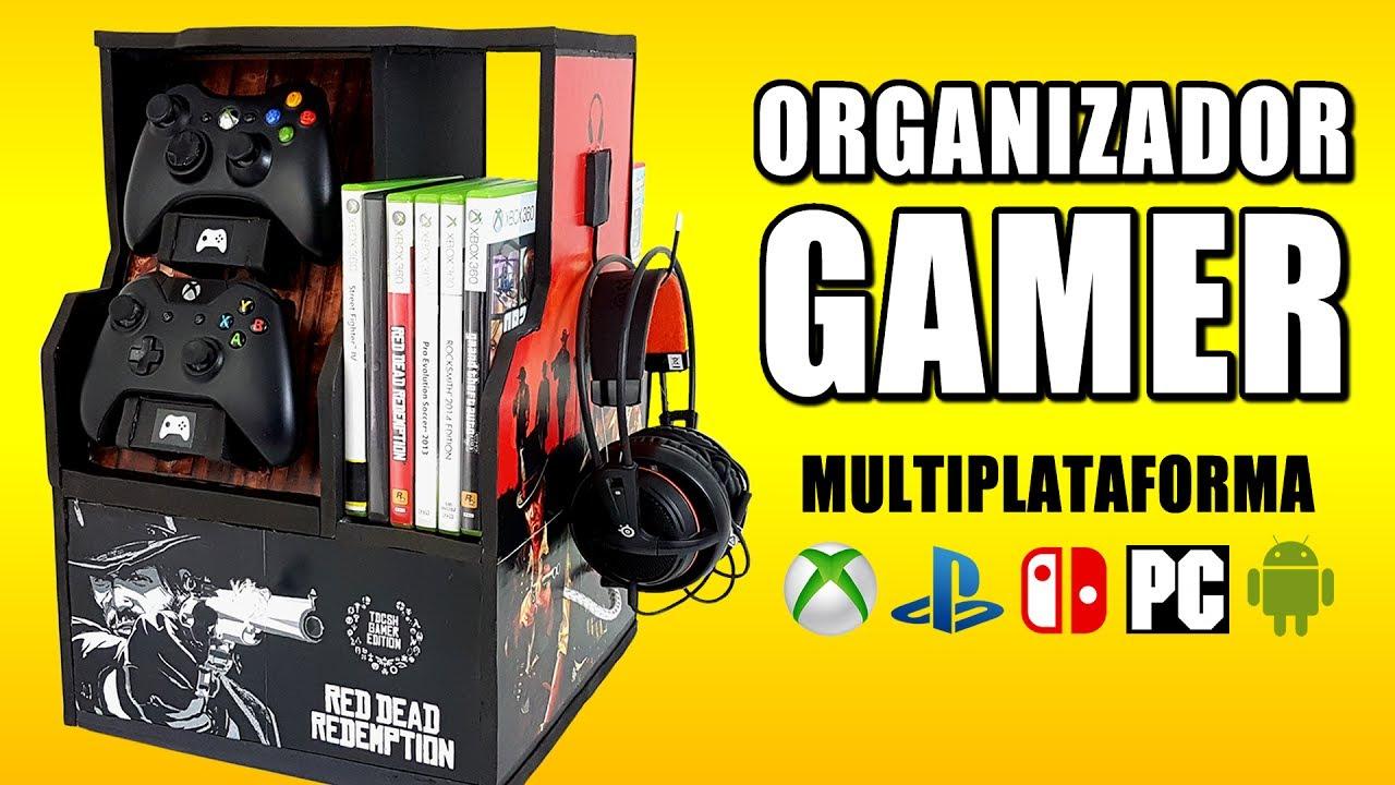 Organizador gamer mueble para videojuegos youtube for Mueble organizador