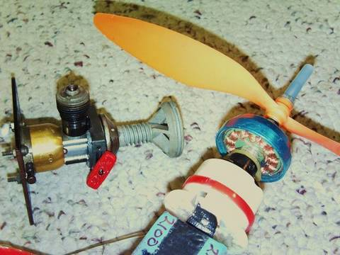 You want to fly RC ?  Combustion or Electric?   Let's run both motors and see!