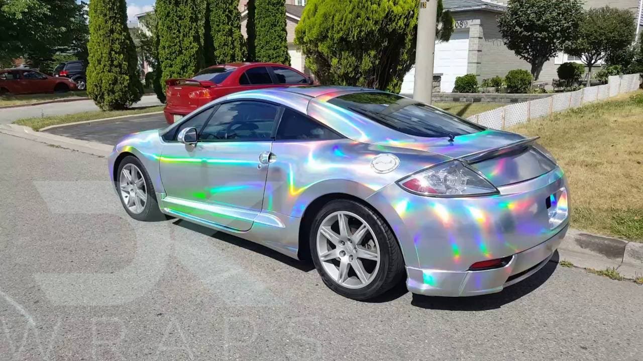 2016 Mitsubishi Eclipse >> Holographic silver chrome Eclipse in sunlight. - YouTube