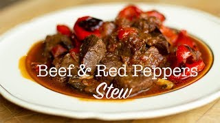 Greek Style Beef Stew with Roasted Red Peppers & Mushrooms