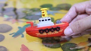 รีวิวของเล่นเรือไขลาน รถของเล่น รถดั้ม รถบรรทุก ช่วยกันขนจระเข้ลงสระน้ำ