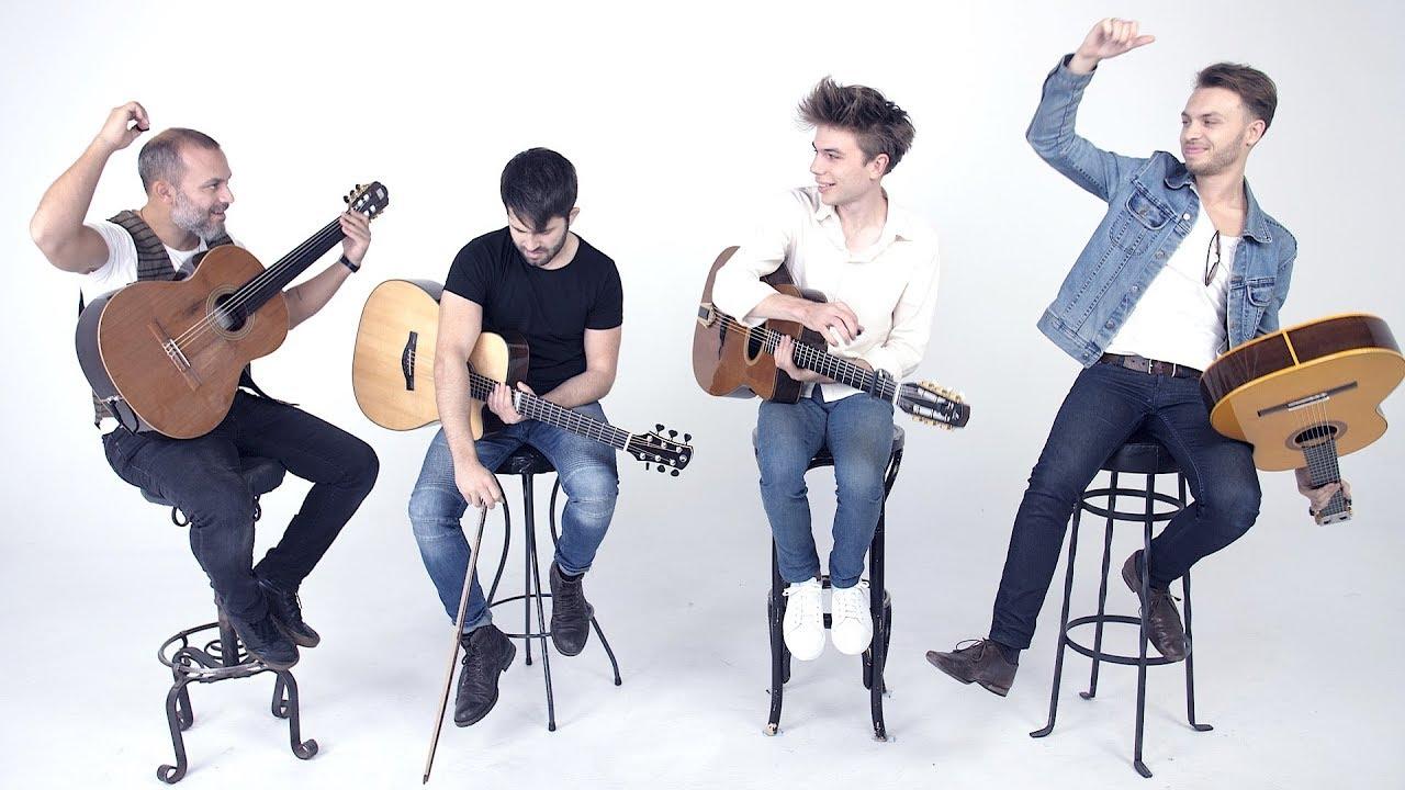 International Quartet of Talented Guitarists Perform an