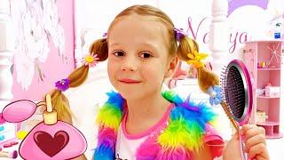 Nastya se disfraza para una fiesta disco para niños