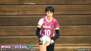 女子バレー石川真佑vs宮部愛芽世【全日本ジュニアオールスタードリームマッチ・WING vs OCEAN 3rd】Volleyball girls Japan