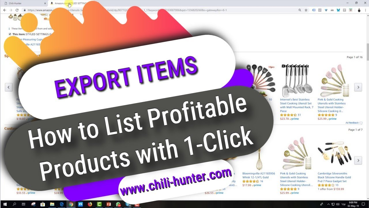 Export Items - How to List Profitable Products with 1-Click | Chili-Hunter eBay Dropshipping Tool