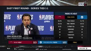 Erik Spoelstra -- Miami Heat at Philadelphia 76ers Game 2 04/16/2018