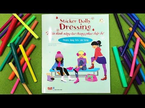 Đồ chơi dán hình trang điểm váy đầm búp bê - Tập14 Duyên dáng trên sân băng -Sticker dolly Chim-Xinh