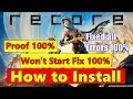 How to Install RECORE-TOX1C - All Error Fixed - Won't Start Fix 100% With Proof