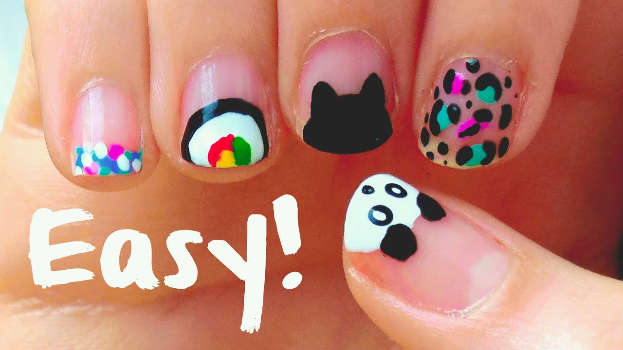 Easy Nail Art Designs For Short Nails!! For Beginners U0026 DIY Tools!   YouTube