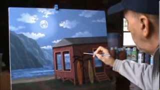 cara melukis sebuah rumah di pantai dan sinar bulan menggunakan akrilik di atas kanvas