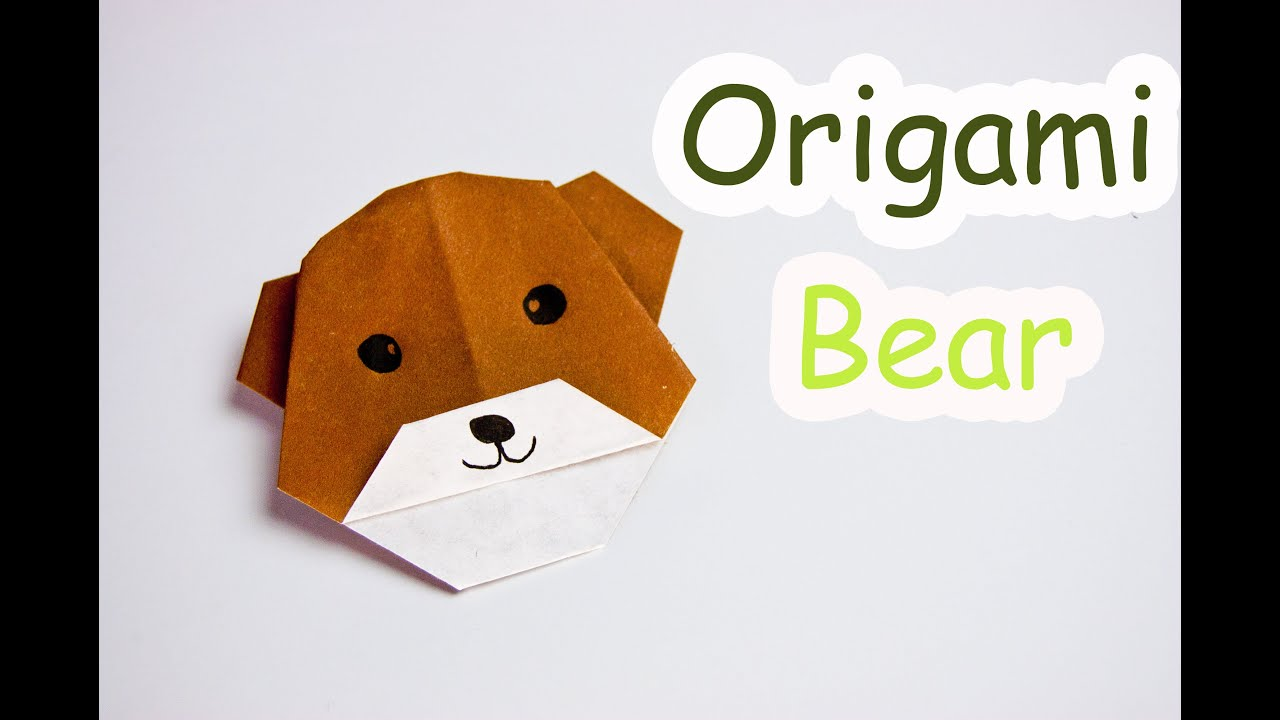 How to make origami bear face - YouTube
