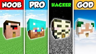 Minecraft NOOB vs. PRO vs. HACKER vs GOD : PLAYER HEAD HOUSE BUILD CHALLENGE in Minecraft!