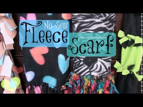 DIY FLEECE SCARF - NO SEW - 4 Different Styles | SoCraftastic - YouTube