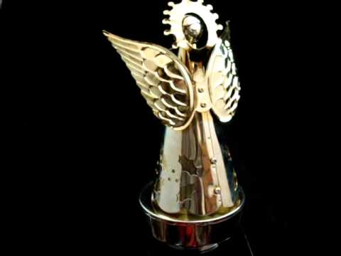 silver plated metal christmas angel wind up rotating music box musical - Metal Christmas Music