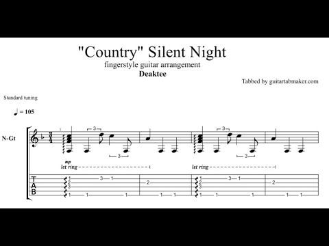 """""""Country"""" Silent Night TAB - acoustic fingerstyle guitar tab - PDF - Guitar Pro"""