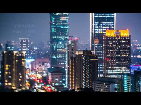 TAIPEI 101 台北天際線-虎山觀景平台夕陽-移軸攝影縮時-(4K video 影片)-sunset TAIPEI 101 SKYLINE #jeff0007