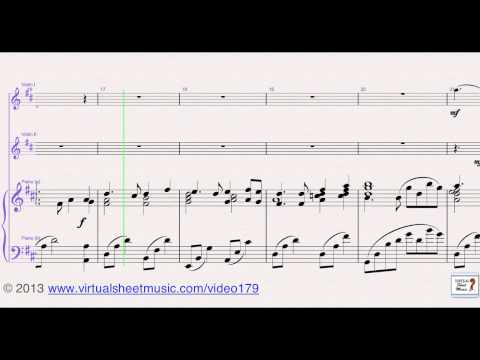 Robert Burns's Auld Lang Syne for two violins and piano, sheet music - Video Score