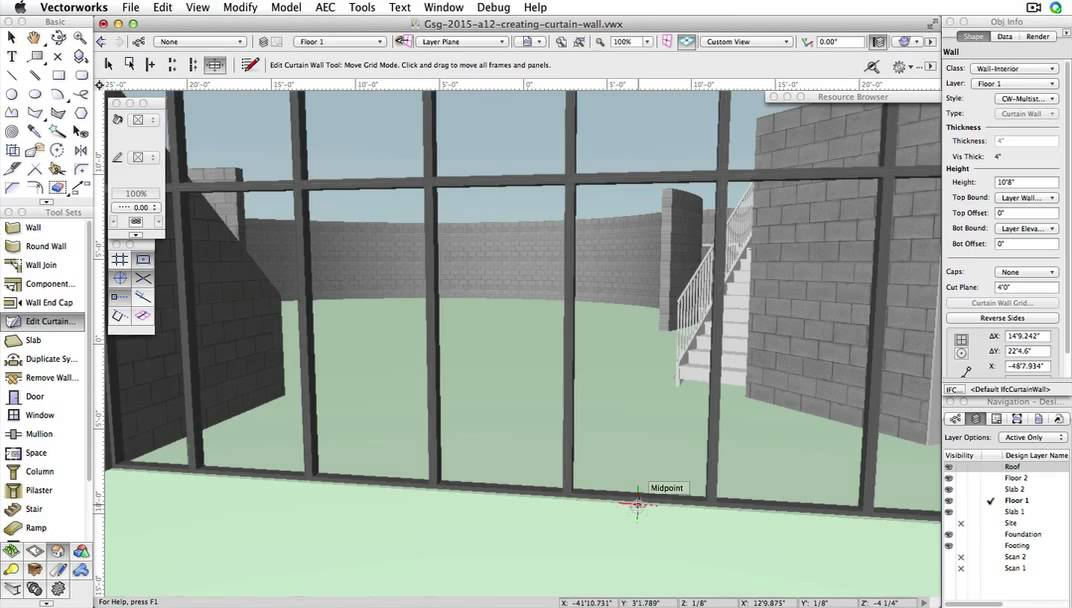 GSG - Vectorworks Architect 2015 - 12 Creating a Curtain Wall - YouTube