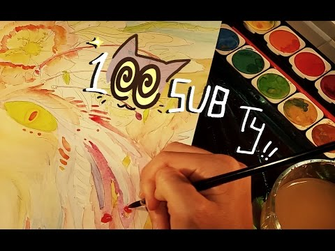 Watercolor painting, brush sounds, napkin || 100 Sub Special Part 2/3