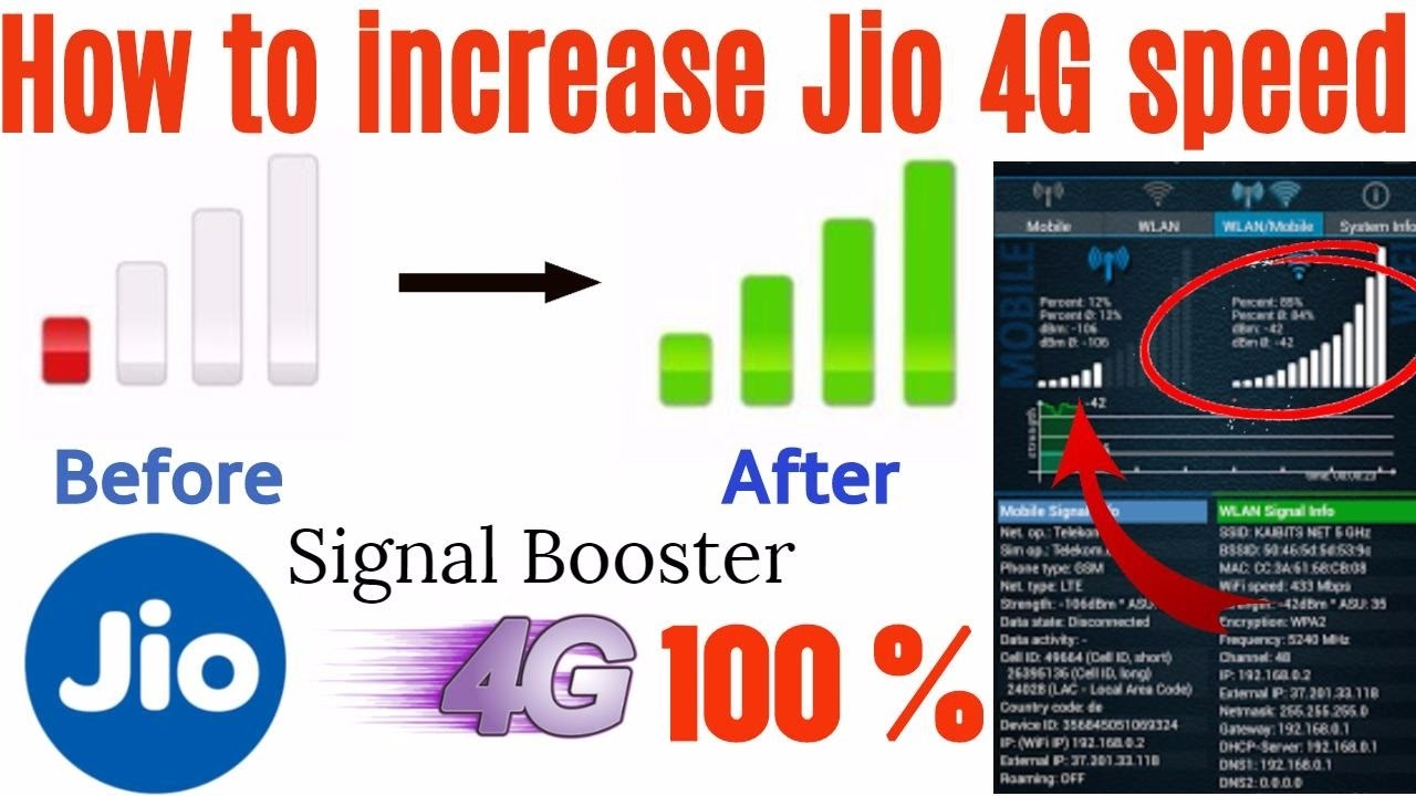 Jio 4G speed increase | Cell signal booster | How to increase jio 4G speed