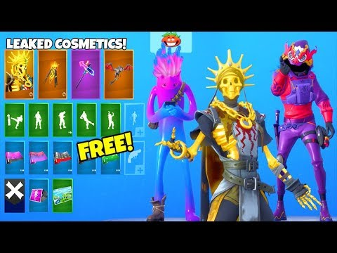 *NEW* Skins & Emotes..! (FREE Rewards, Gold Skeleton, Dragon Skin LEAKED) Fortnite Battle Royale