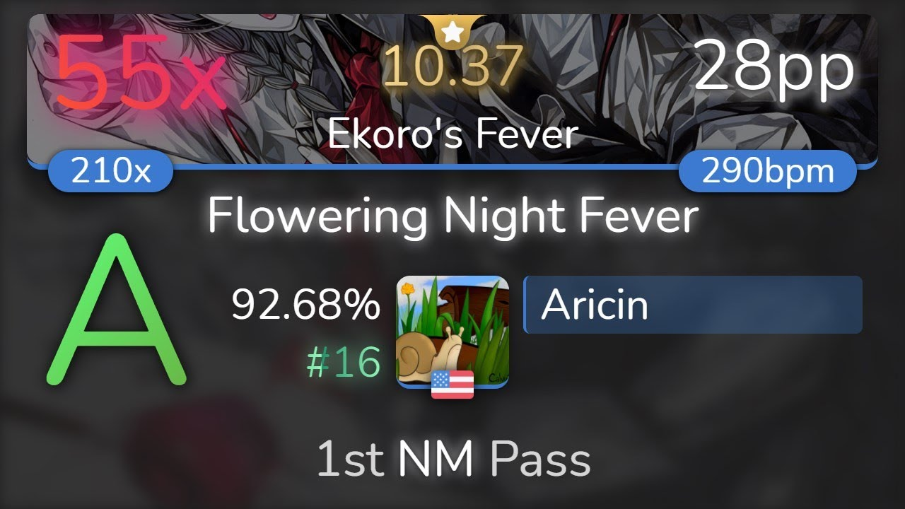 Download [10.37⭐] Aricin   UNDEAD CORPORATION - Flowering Night Fever [Ekoro's Fever] 92.68% {#16 55❌} - osu!