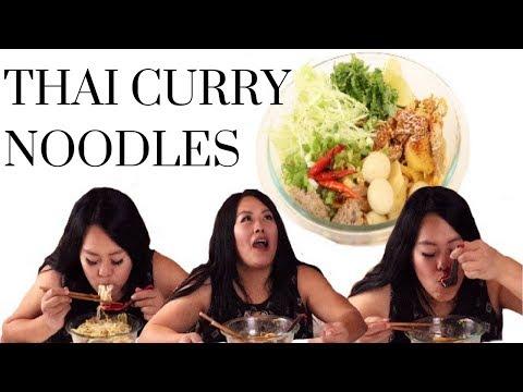 Thai Curry Noodles (Khao Poon/Ka Poog) Mukbang and Recipe!