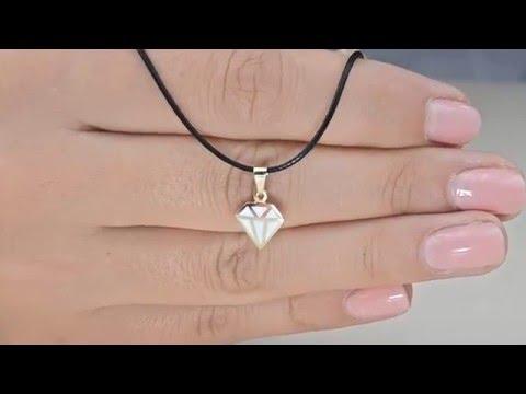 Χρυσό κόσμημα λαιμού Κ14 με διαμάντι με λευκό σμάλτο D020149