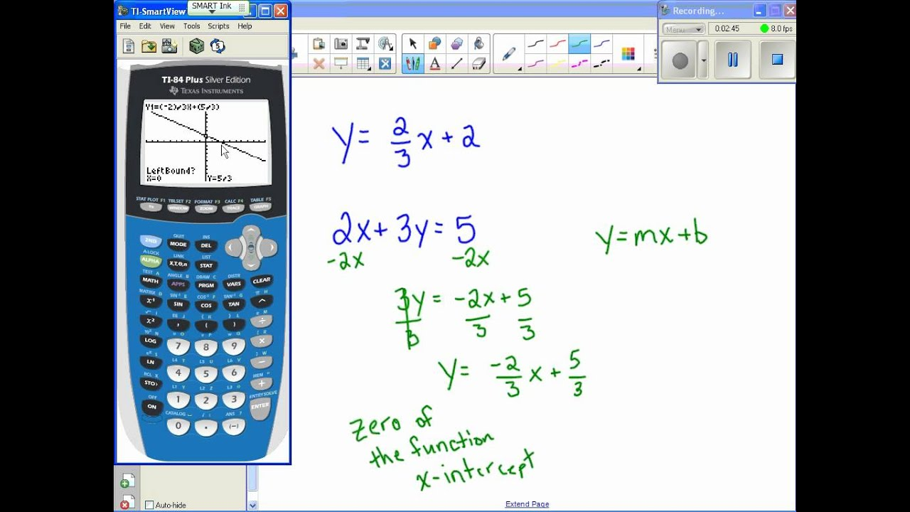 Finding X Y Intercepts With Calculator