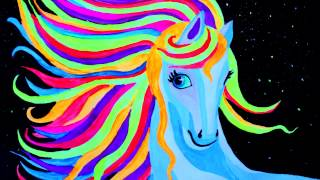 Уроки рисования. Как нарисовать портрет лошади неоновой гуашью(Скачайте видео урок