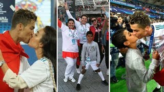 Cristiano Ronaldo all family in Kiev during final game vs Liverpool